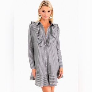 The Fifth Label Parcel Stripe Ruffled Shirt Dress